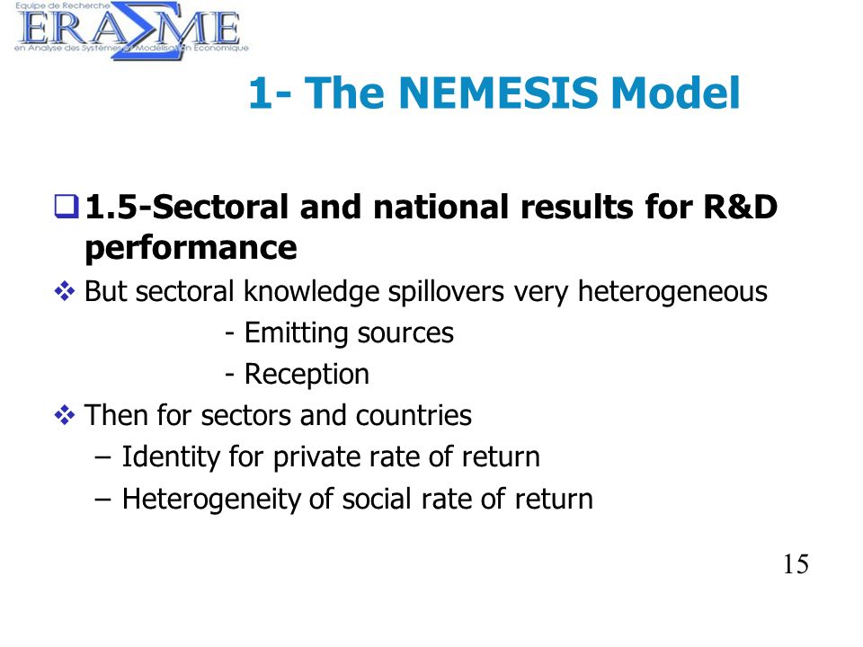 15 1- The NEMESIS Model 1.5-Sectoral and national results for R&D performance But sectoral knowledge spillovers very heterogeneous - Emitting sources