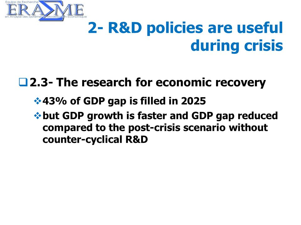 26 2- R&D policies are useful during crisis 2.3- The research for economic recovery 43% of GDP gap is filled in 2025 but GDP growth is faster and GDP