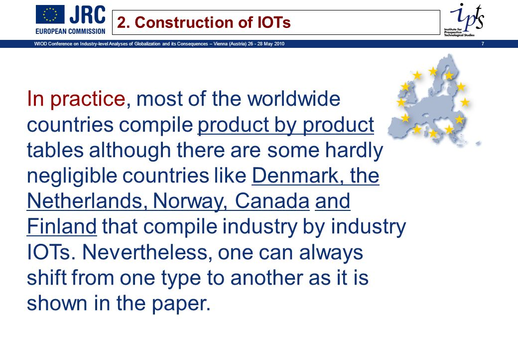 7WIOD Conference on Industry-level Analyses of Globalization and its Consequences – Vienna (Austria) 26 - 28 May 2010 In practice, most of the worldwide countries compile product by product tables although there are some hardly negligible countries like Denmark, the Netherlands, Norway, Canada and Finland that compile industry by industry IOTs.