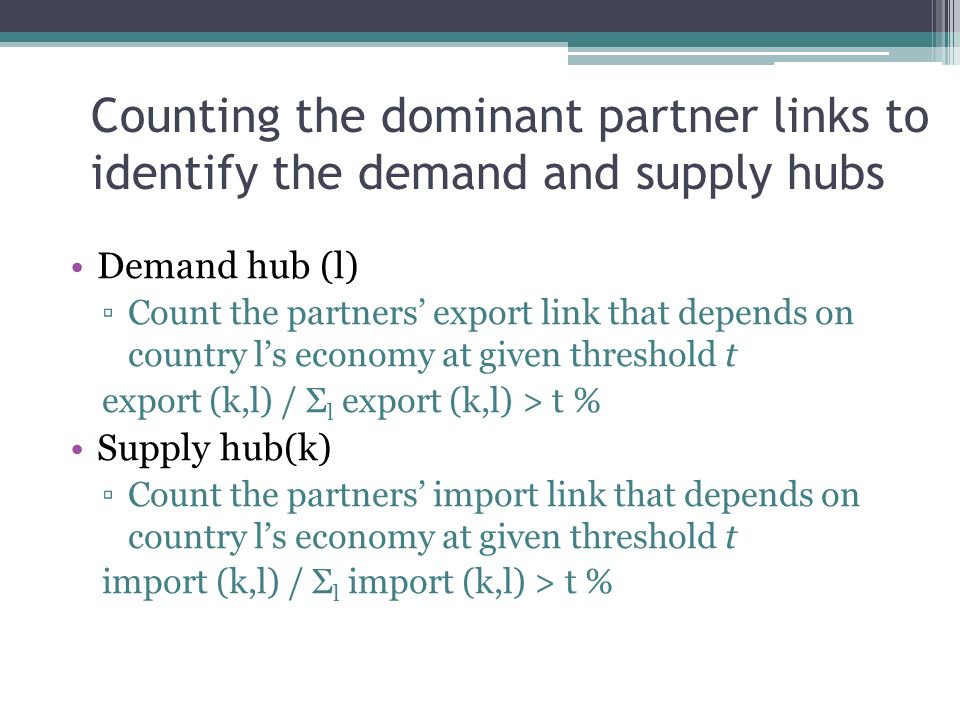 Counting the dominant partner links to identify the demand and supply hubs Demand hub (l) Count the partners export link that depends on country ls economy at given threshold t export (k,l) / Σ l export (k,l) > t % Supply hub(k) Count the partners import link that depends on country ls economy at given threshold t import (k,l) / Σ l import (k,l) > t %
