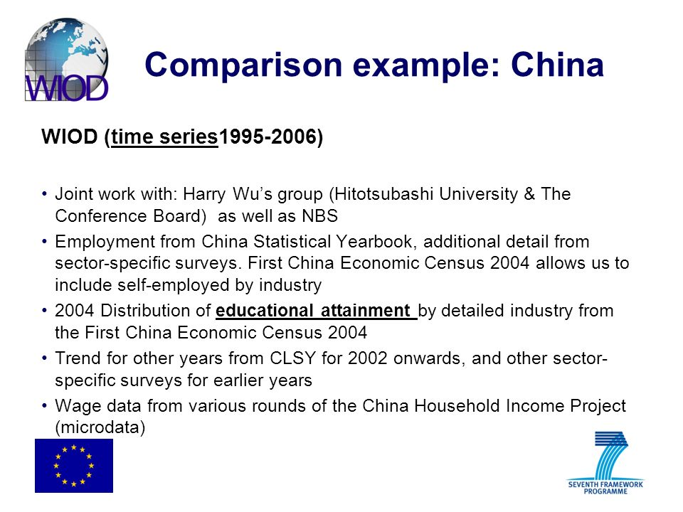 Comparison example: China WIOD (time series1995-2006) Joint work with: Harry Wus group (Hitotsubashi University & The Conference Board) as well as NBS