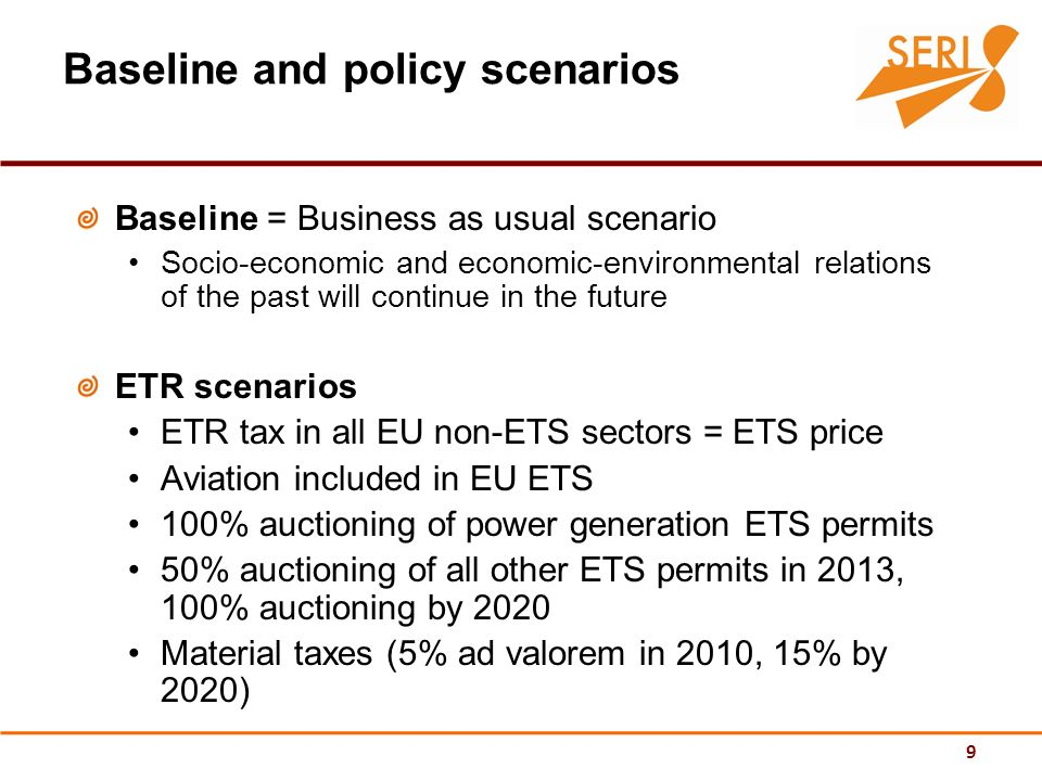 9 Baseline and policy scenarios Baseline = Business as usual scenario Socio-economic and economic-environmental relations of the past will continue in the future ETR scenarios ETR tax in all EU non-ETS sectors = ETS price Aviation included in EU ETS 100% auctioning of power generation ETS permits 50% auctioning of all other ETS permits in 2013, 100% auctioning by 2020 Material taxes (5% ad valorem in 2010, 15% by 2020)