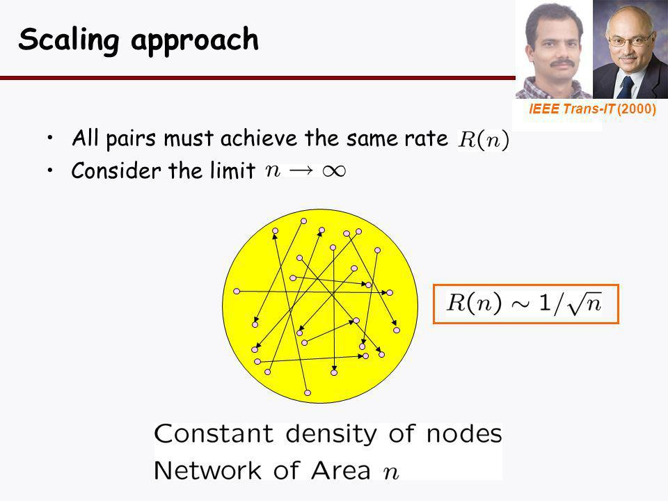 Scaling approach All pairs must achieve the same rate Consider the limit IEEE Trans-IT (2000)