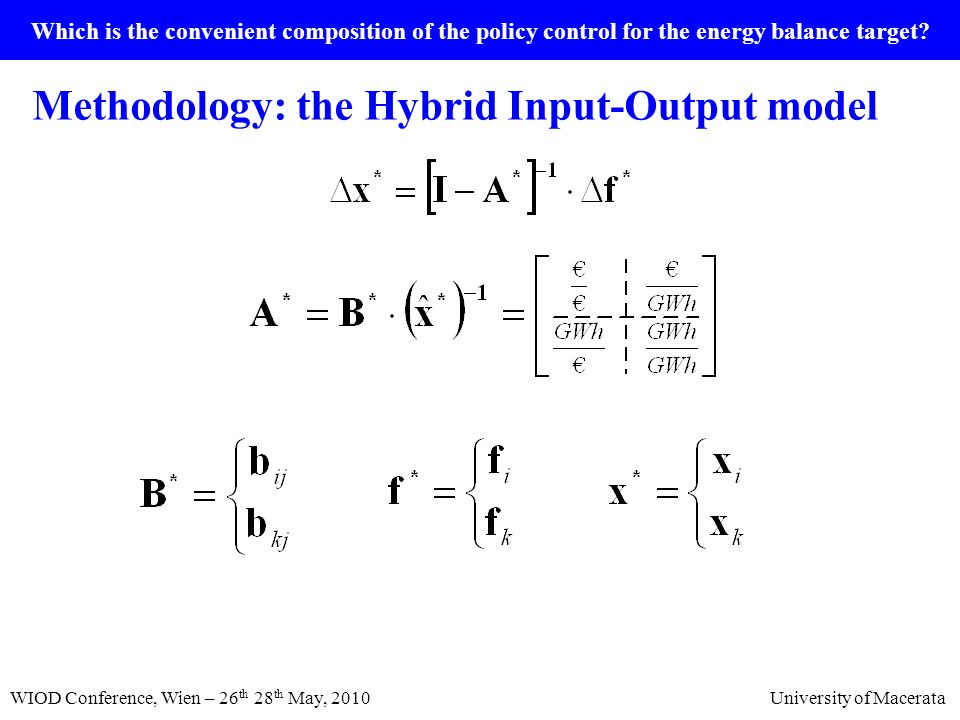 Which is the convenient composition of the policy control for the energy balance target? Methodology: the Hybrid Input-Output model WIOD Conference, W