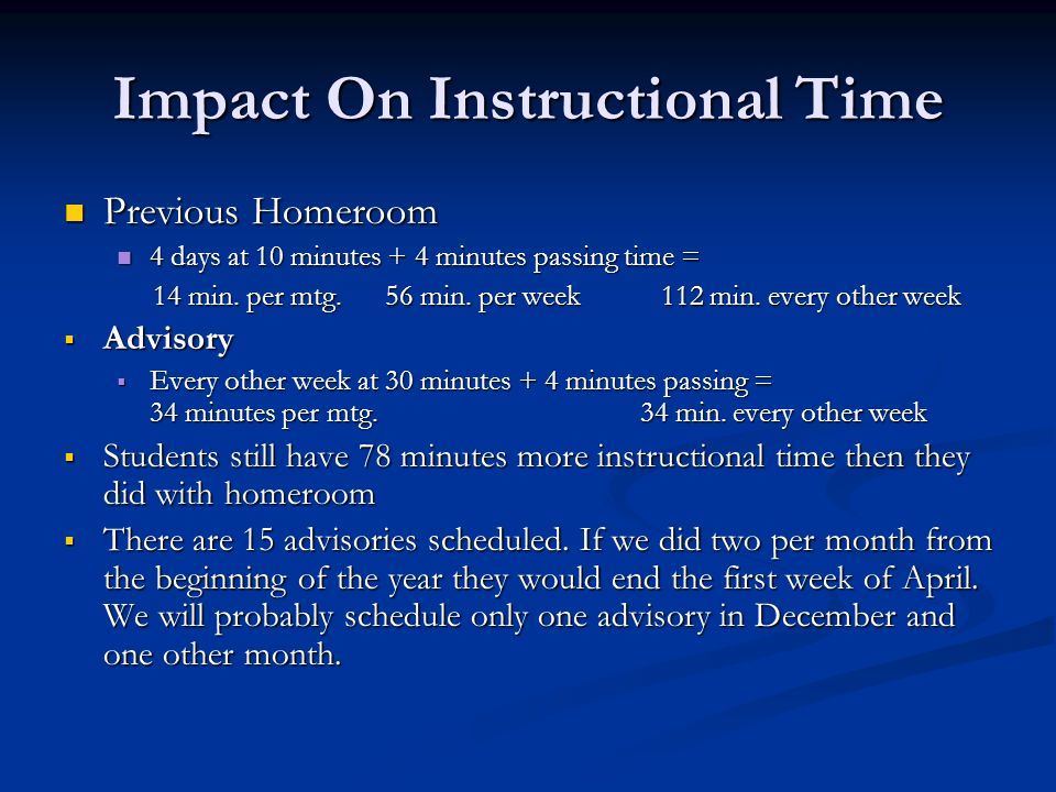 Impact On Instructional Time Previous Homeroom Previous Homeroom 4 days at 10 minutes + 4 minutes passing time = 4 days at 10 minutes + 4 minutes passing time = 14 min.