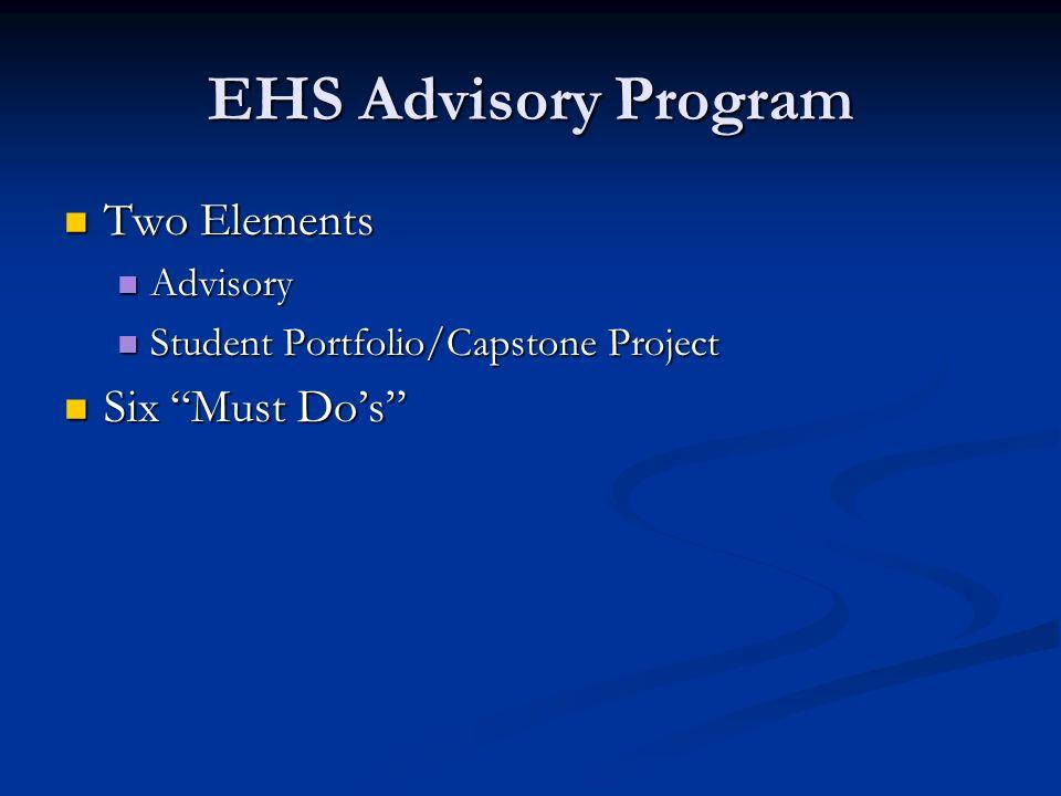 EHS Advisory Program Two Elements Two Elements Advisory Advisory Student Portfolio/Capstone Project Student Portfolio/Capstone Project Six Must Dos Six Must Dos