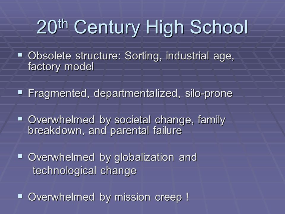 20 th Century High School Obsolete structure: Sorting, industrial age, factory model Obsolete structure: Sorting, industrial age, factory model Fragmented, departmentalized, silo-prone Fragmented, departmentalized, silo-prone Overwhelmed by societal change, family breakdown, and parental failure Overwhelmed by societal change, family breakdown, and parental failure Overwhelmed by globalization and Overwhelmed by globalization and technological change technological change Overwhelmed by mission creep .