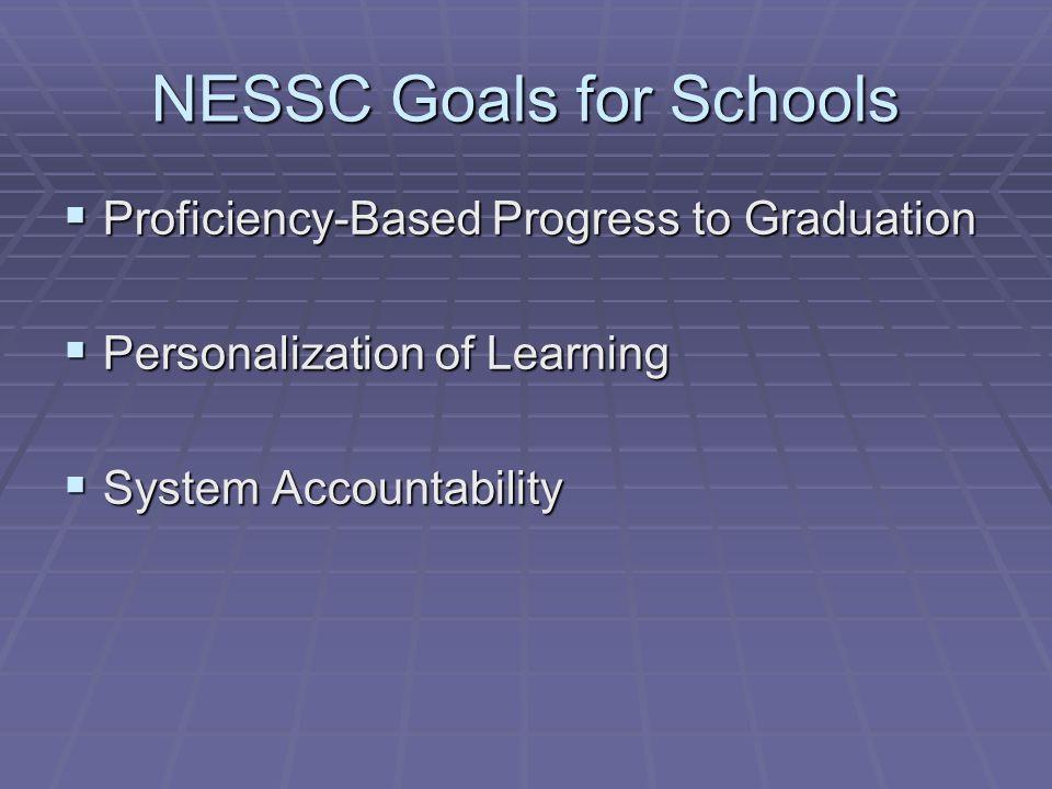 NESSC Goals for Schools Proficiency-Based Progress to Graduation Proficiency-Based Progress to Graduation Personalization of Learning Personalization