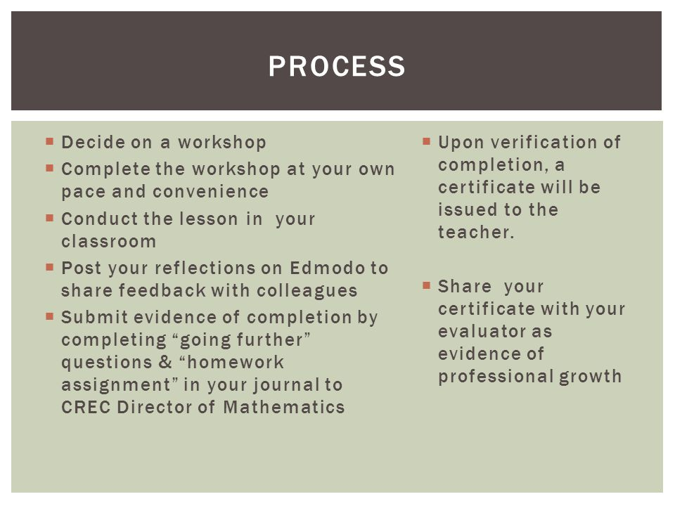 Decide on a workshop Complete the workshop at your own pace and convenience Conduct the lesson in your classroom Post your reflections on Edmodo to share feedback with colleagues Submit evidence of completion by completing going further questions & homework assignment in your journal to CREC Director of Mathematics Upon verification of completion, a certificate will be issued to the teacher.
