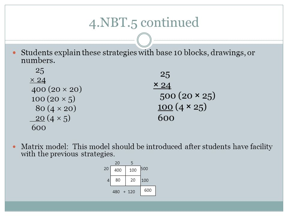 4.NBT.5 continued Students explain these strategies with base 10 blocks, drawings, or numbers.