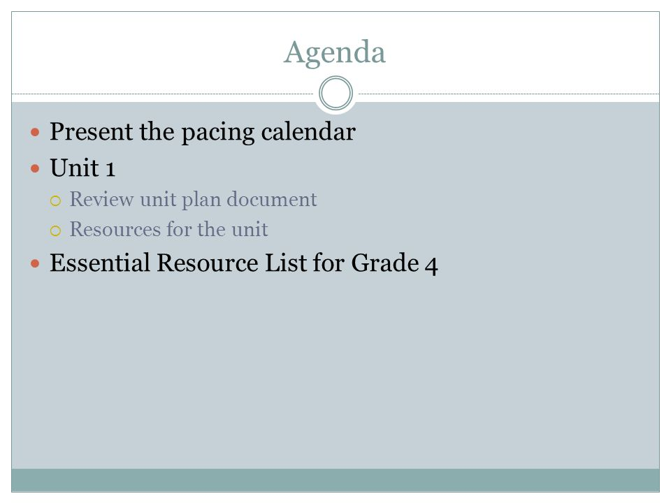 Agenda Present the pacing calendar Unit 1 Review unit plan document Resources for the unit Essential Resource List for Grade 4
