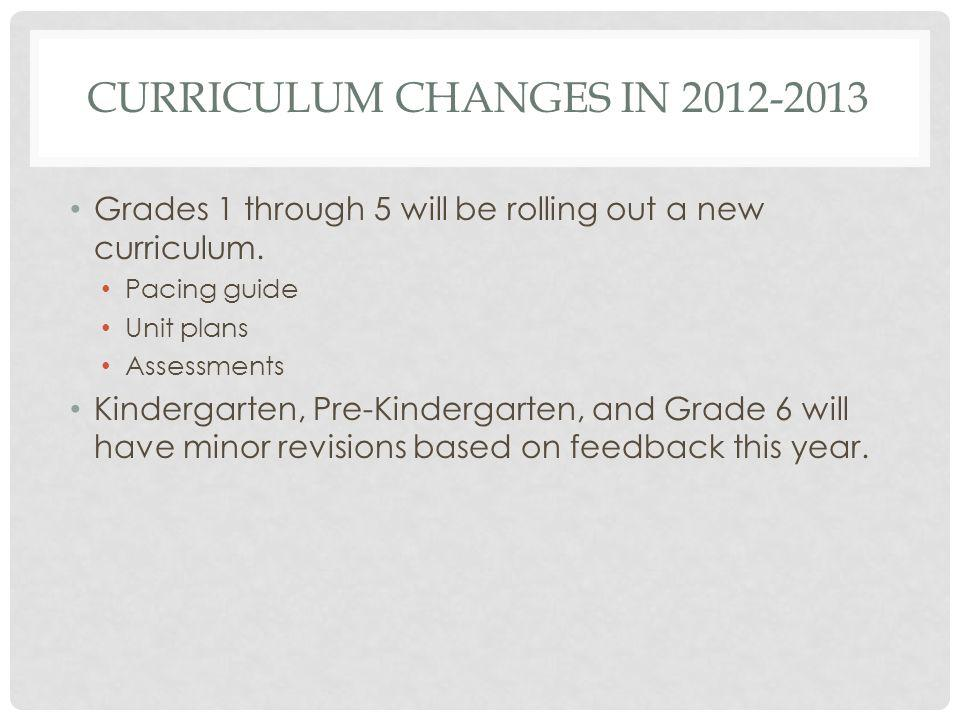 CURRICULUM CHANGES IN 2012-2013 Grades 1 through 5 will be rolling out a new curriculum.