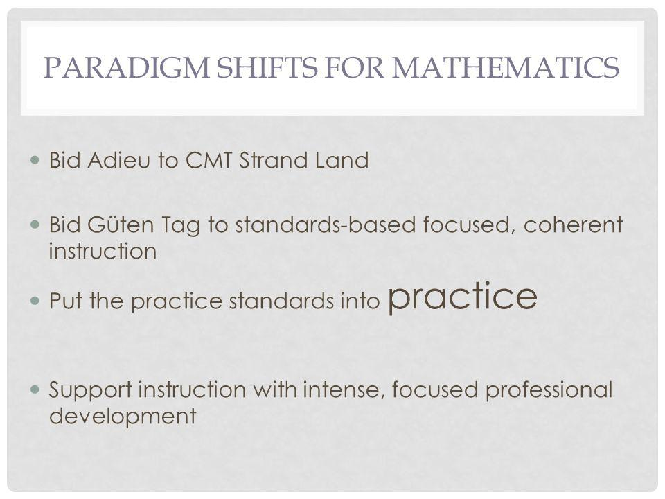 PARADIGM SHIFTS FOR MATHEMATICS Bid Adieu to CMT Strand Land Bid Güten Tag to standards-based focused, coherent instruction Put the practice standards