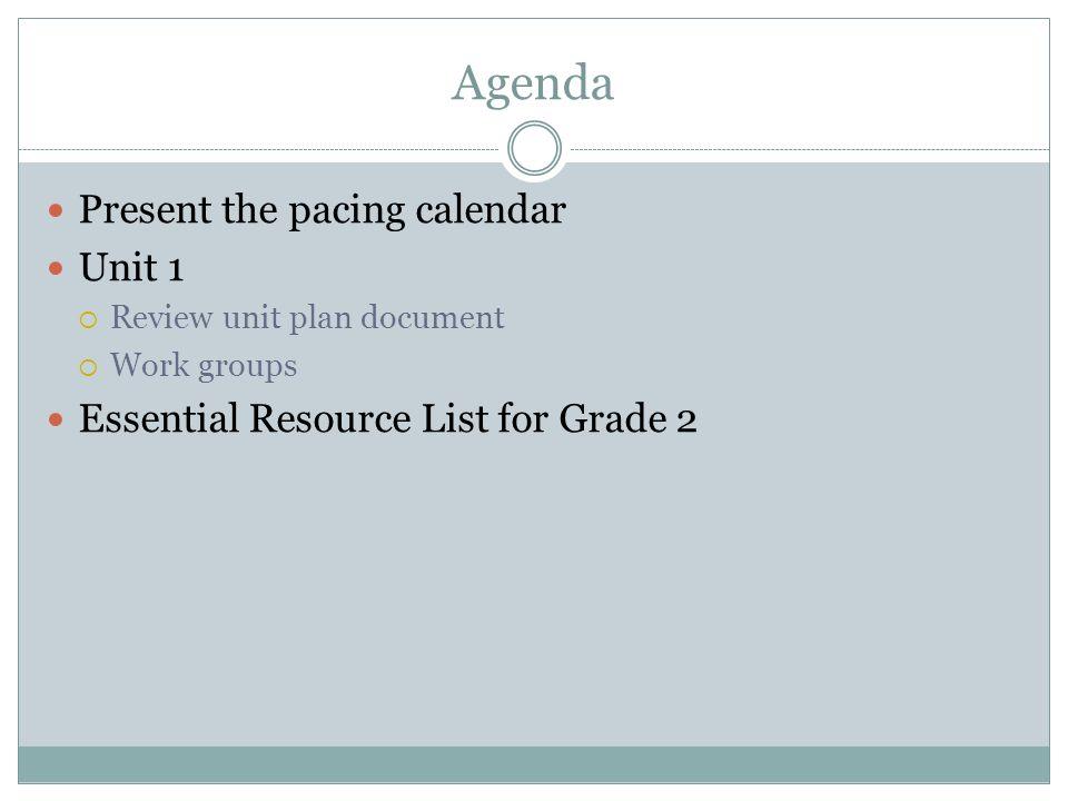 Agenda Present the pacing calendar Unit 1 Review unit plan document Work groups Essential Resource List for Grade 2