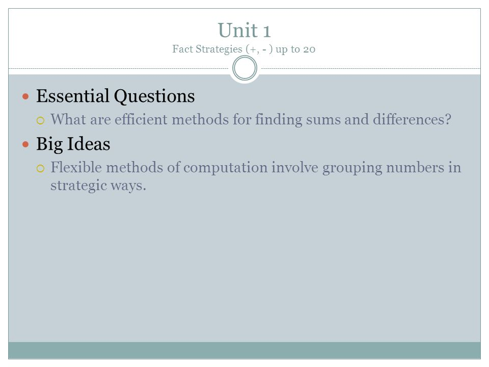 Unit 1 Fact Strategies (+, - ) up to 20 Essential Questions What are efficient methods for finding sums and differences? Big Ideas Flexible methods of