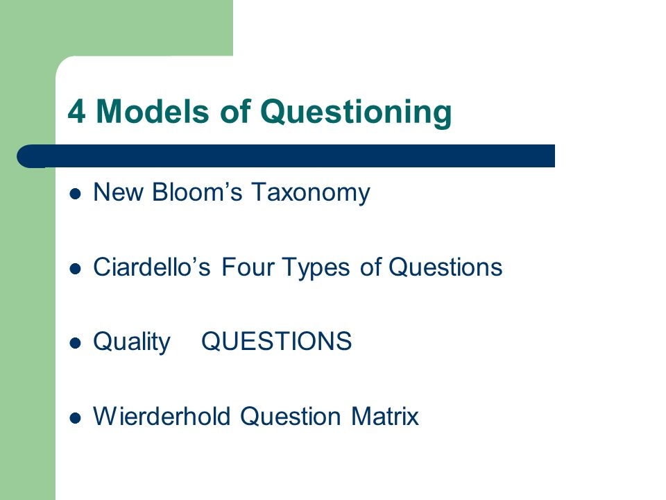 4 Models of Questioning New Blooms Taxonomy Ciardellos Four Types of Questions Quality QUESTIONS Wierderhold Question Matrix