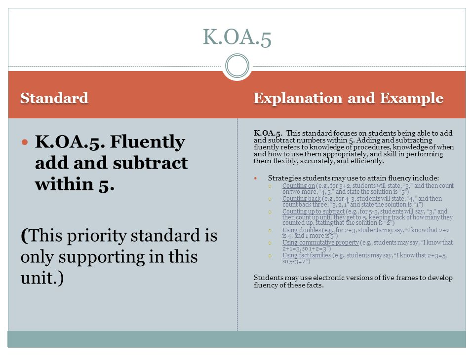 Standard Explanation and Example K.OA.5. Fluently add and subtract within 5. (This priority standard is only supporting in this unit.) K.OA.5. This st