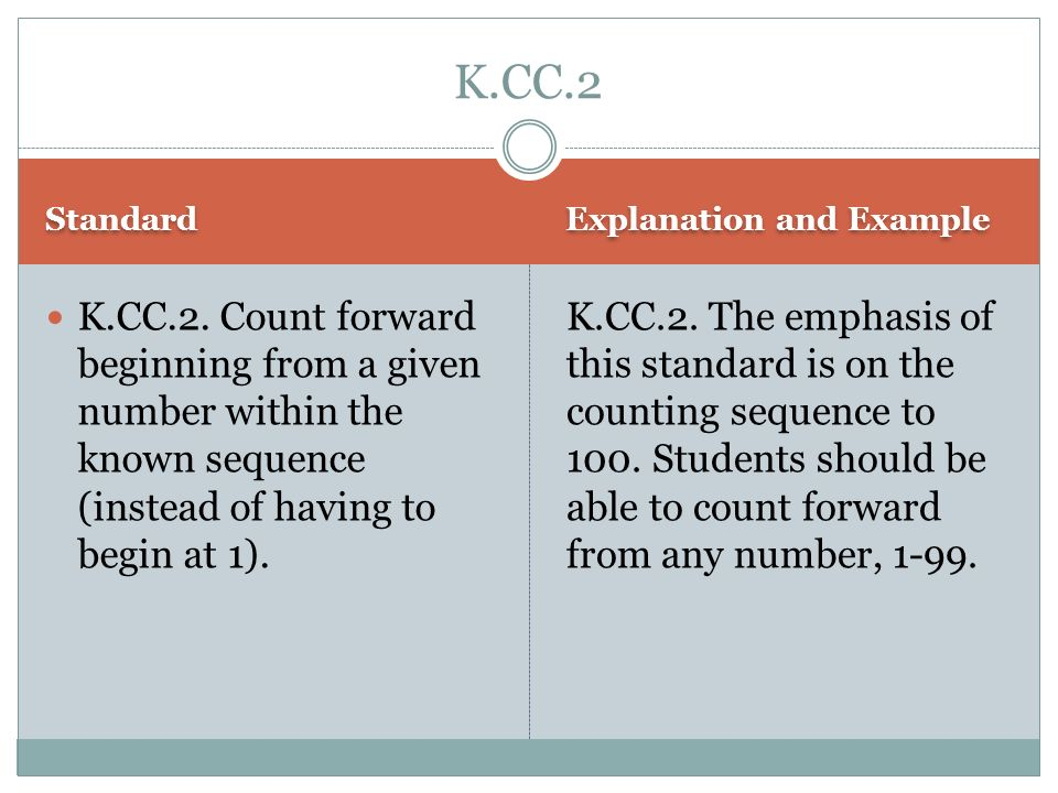 Standard Explanation and Example K.CC.2. Count forward beginning from a given number within the known sequence (instead of having to begin at 1). K.CC