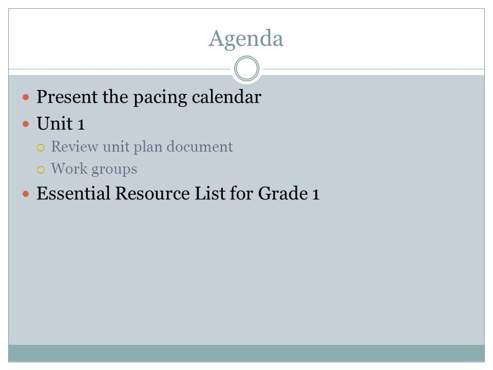 Agenda Present the pacing calendar Unit 1 Review unit plan document Work groups Essential Resource List for Grade 1