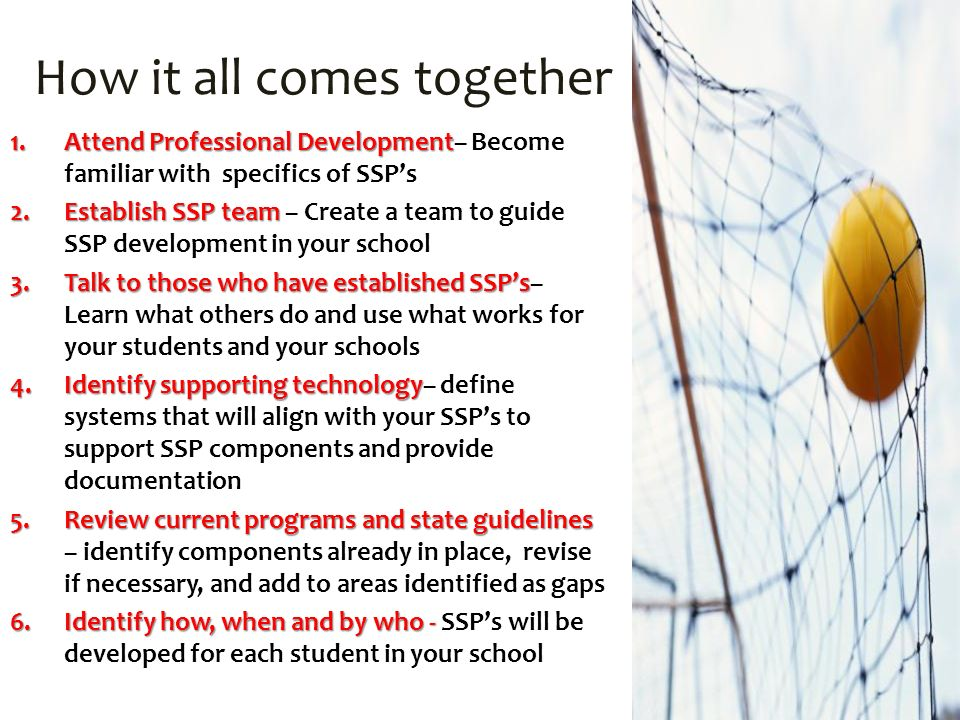 How it all comes together 1.Attend Professional Development 1.Attend Professional Development– Become familiar with specifics of SSPs 2.Establish SSP