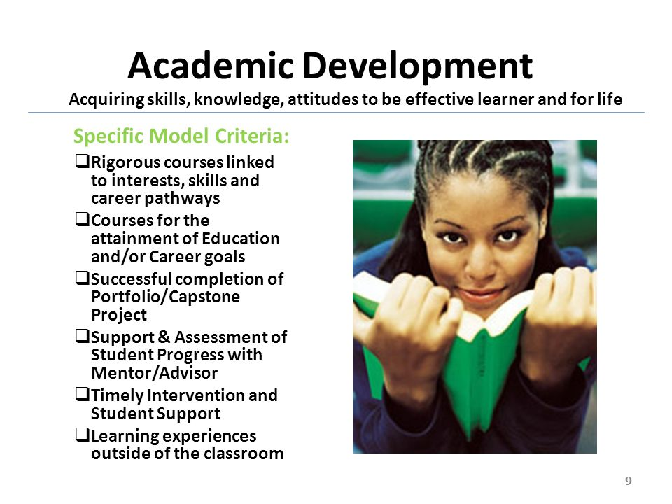 Academic Development Rigorous courses linked to interests, skills and career pathways Courses for the attainment of Education and/or Career goals Succ