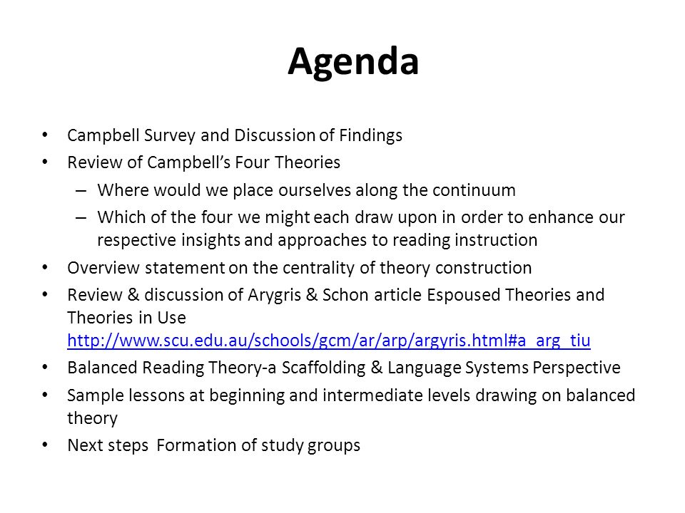 Agenda Campbell Survey and Discussion of Findings Review of Campbells Four Theories – Where would we place ourselves along the continuum – Which of th