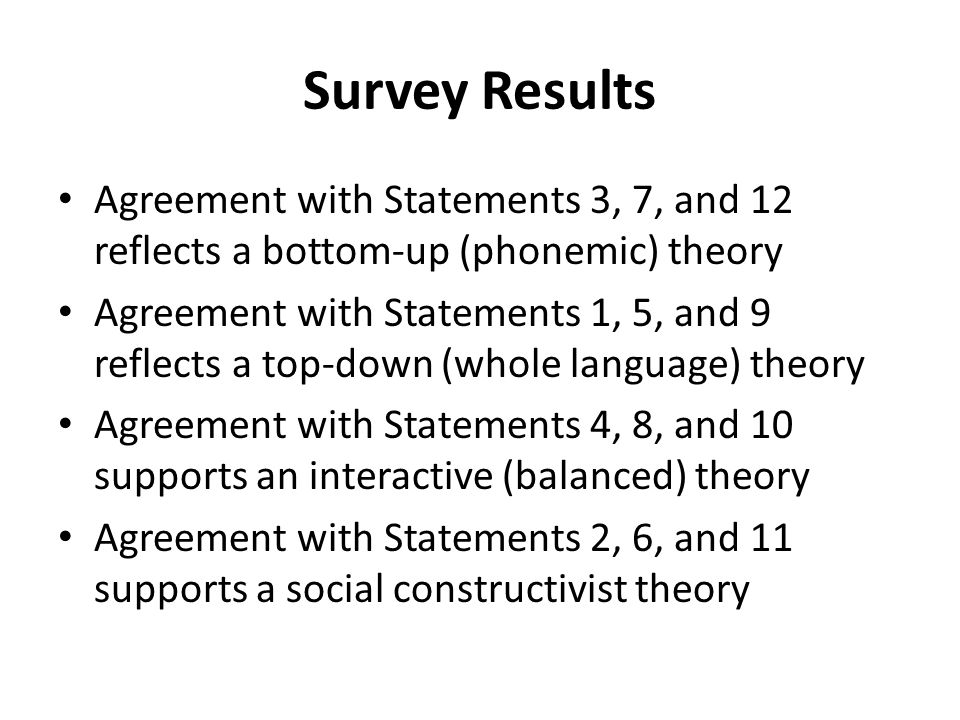 Survey Results Agreement with Statements 3, 7, and 12 reflects a bottom-up (phonemic) theory Agreement with Statements 1, 5, and 9 reflects a top-down