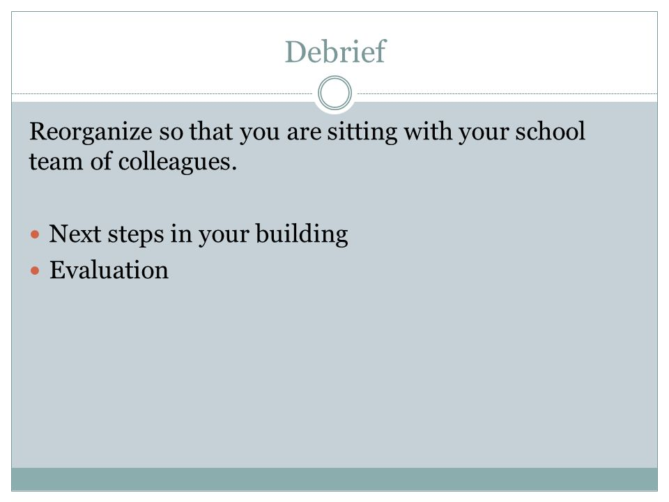 Debrief Reorganize so that you are sitting with your school team of colleagues.