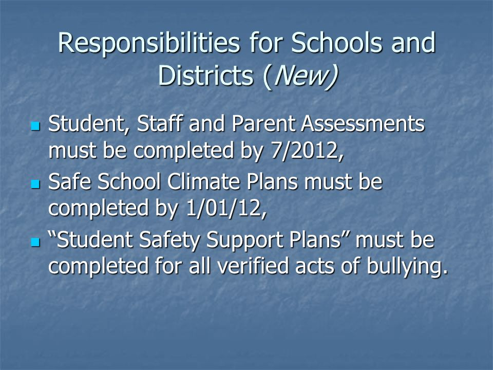 Student, Staff and Parent Assessments must be completed by 7/2012, Student, Staff and Parent Assessments must be completed by 7/2012, Safe School Climate Plans must be completed by 1/01/12, Safe School Climate Plans must be completed by 1/01/12, Student Safety Support Plans must be completed for all verified acts of bullying.