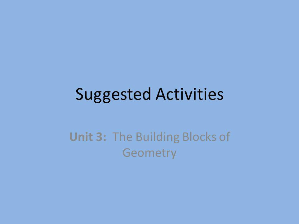 Suggested Activities Unit 3: The Building Blocks of Geometry