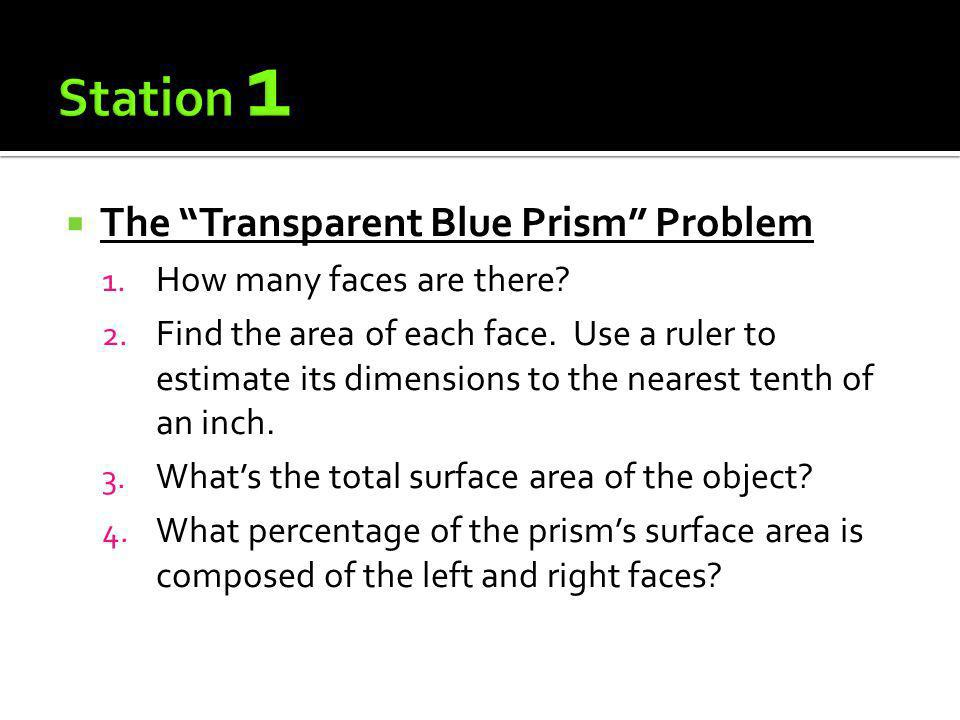 The Transparent Blue Prism Problem 1. How many faces are there? 2. Find the area of each face. Use a ruler to estimate its dimensions to the nearest t