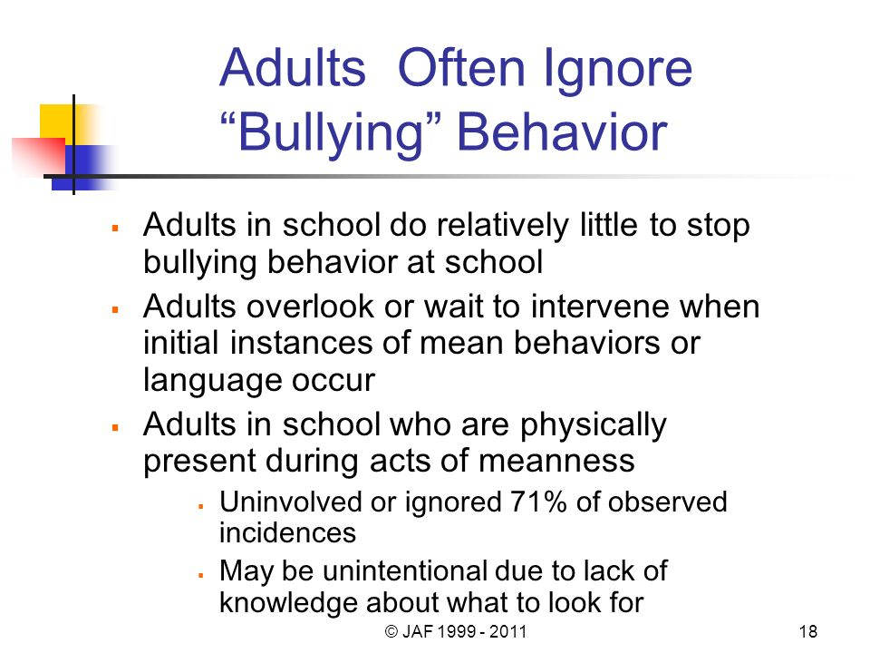 Adults Often Ignore Bullying Behavior Adults in school do relatively little to stop bullying behavior at school Adults overlook or wait to intervene when initial instances of mean behaviors or language occur Adults in school who are physically present during acts of meanness Uninvolved or ignored 71% of observed incidences May be unintentional due to lack of knowledge about what to look for © JAF 1999 - 201118