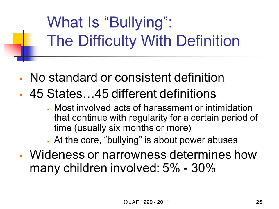 What Is Bullying: The Difficulty With Definition No standard or consistent definition 45 States…45 different definitions Most involved acts of harassment or intimidation that continue with regularity for a certain period of time (usually six months or more) At the core, bullying is about power abuses Wideness or narrowness determines how many children involved: 5% - 30% © JAF 1999 - 201126