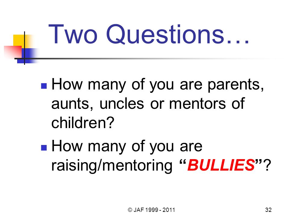 Two Questions… How many of you are parents, aunts, uncles or mentors of children.