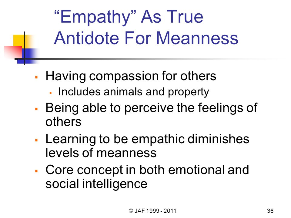 Empathy As True Antidote For Meanness Having compassion for others Includes animals and property Being able to perceive the feelings of others Learnin