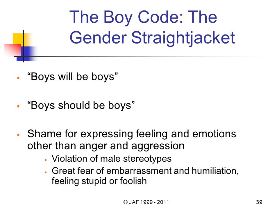 The Boy Code: The Gender Straightjacket Boys will be boys Boys should be boys Shame for expressing feeling and emotions other than anger and aggressio