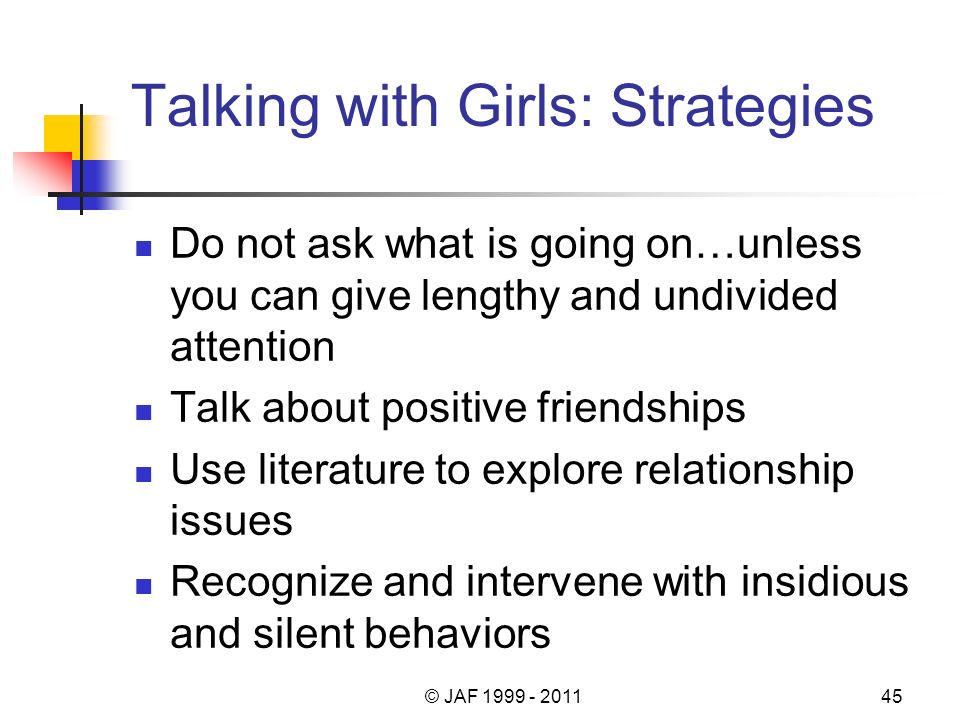 Talking with Girls: Strategies Do not ask what is going on…unless you can give lengthy and undivided attention Talk about positive friendships Use literature to explore relationship issues Recognize and intervene with insidious and silent behaviors © JAF 1999 - 201145