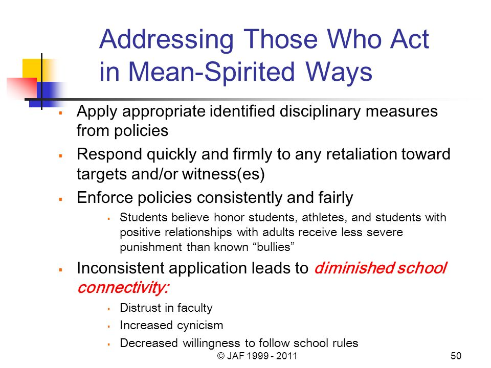 Addressing Those Who Act in Mean-Spirited Ways Apply appropriate identified disciplinary measures from policies Respond quickly and firmly to any retaliation toward targets and/or witness(es) Enforce policies consistently and fairly Students believe honor students, athletes, and students with positive relationships with adults receive less severe punishment than known bullies Inconsistent application leads to diminished school connectivity: Distrust in faculty Increased cynicism Decreased willingness to follow school rules © JAF 1999 - 201150