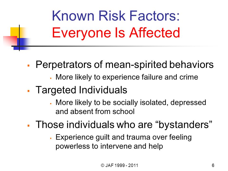Known Risk Factors: Everyone Is Affected Perpetrators of mean-spirited behaviors More likely to experience failure and crime Targeted Individuals More