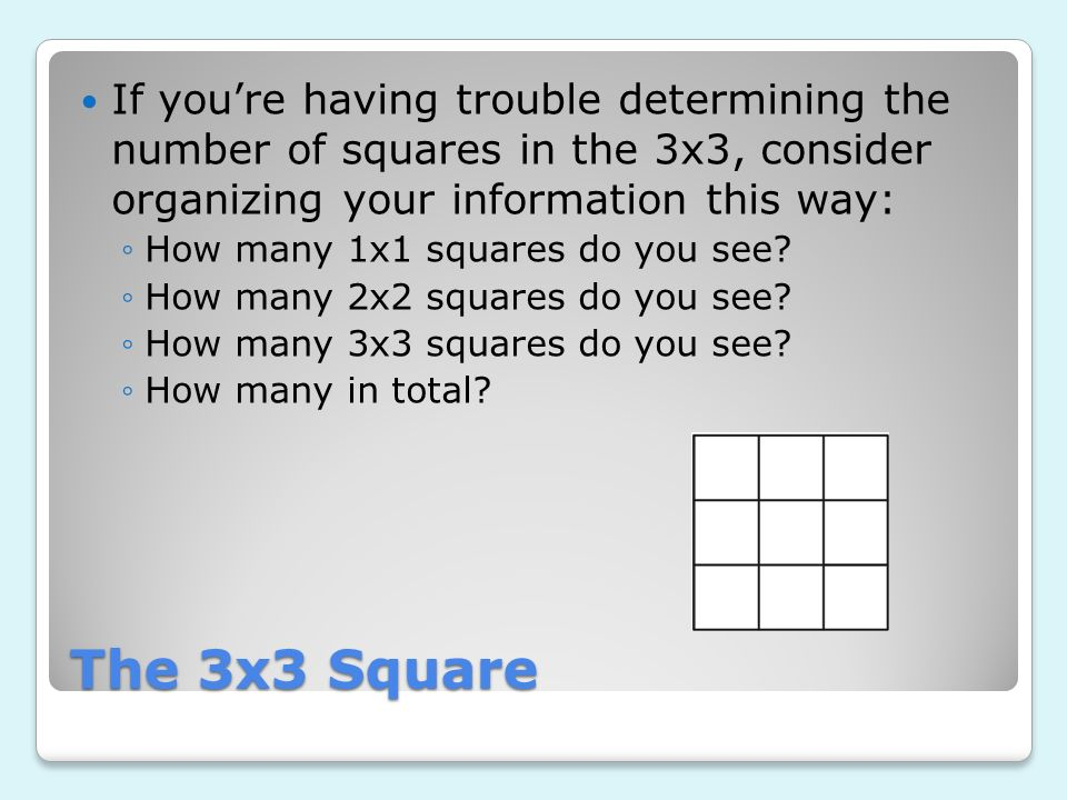 The 3x3 Square If youre having trouble determining the number of squares in the 3x3, consider organizing your information this way: How many 1x1 squar