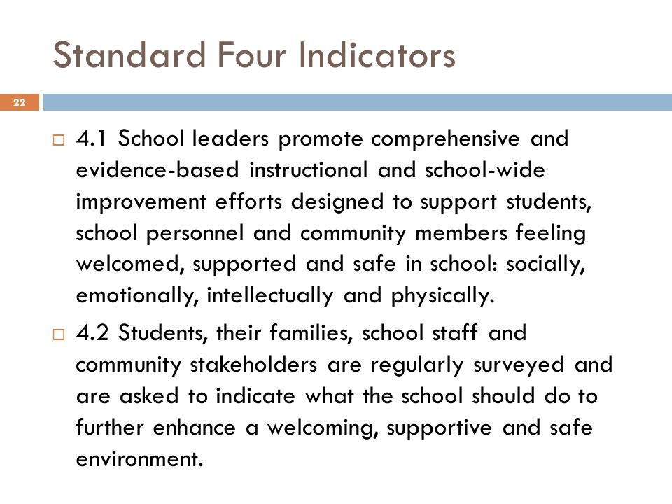 Standard Four Indicators 4.1 School leaders promote comprehensive and evidence-based instructional and school-wide improvement efforts designed to sup