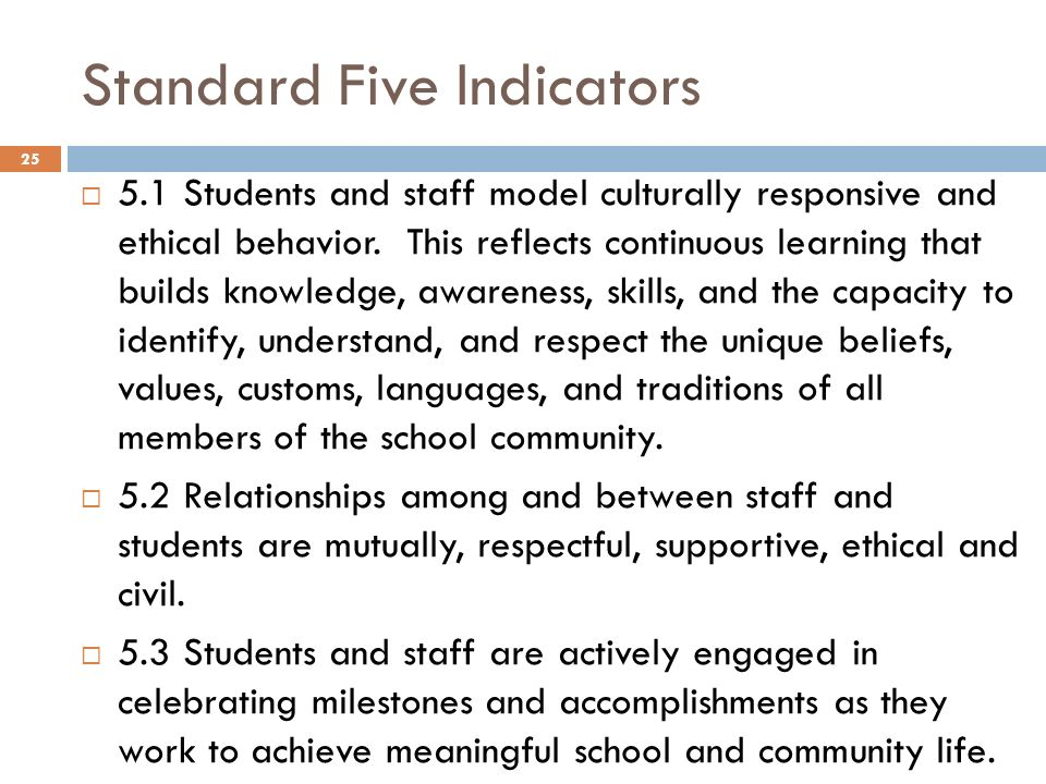 Standard Five Indicators 5.1 Students and staff model culturally responsive and ethical behavior. This reflects continuous learning that builds knowle