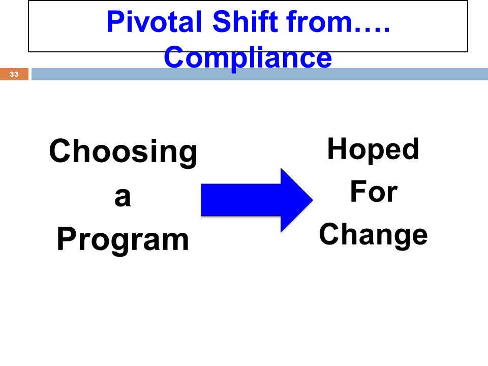 Choosing a Program 33 Hoped For Change Pivotal Shift from…. Compliance