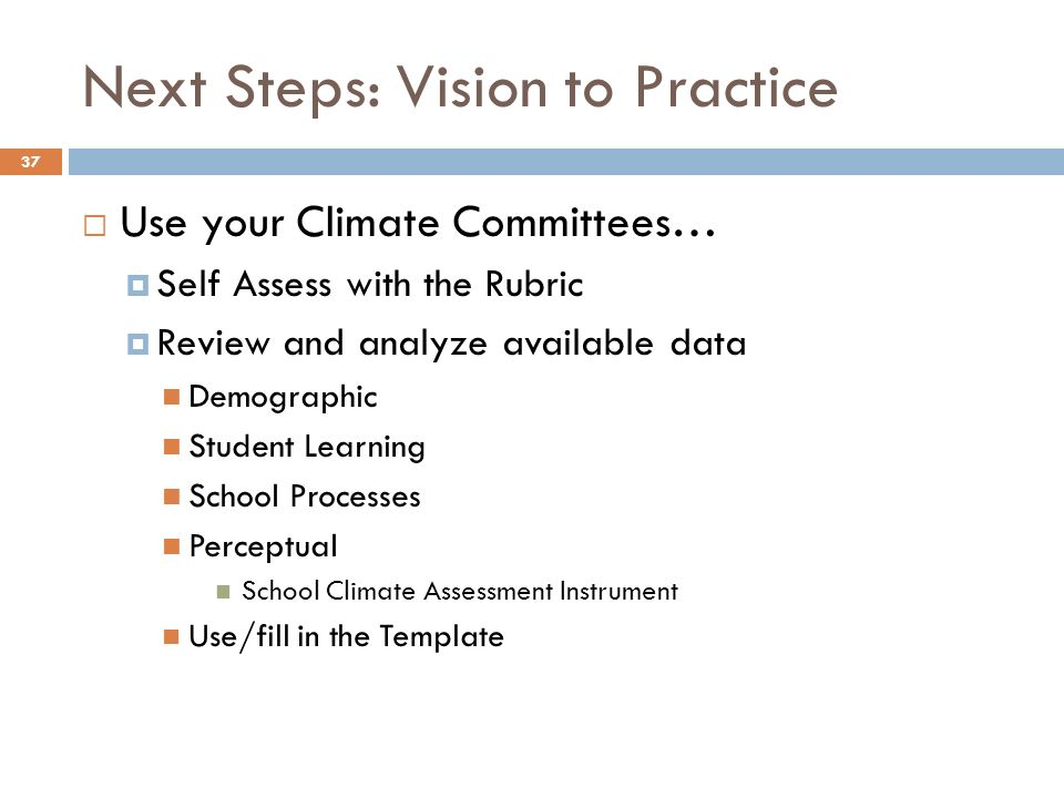 Next Steps: Vision to Practice Use your Climate Committees… Self Assess with the Rubric Review and analyze available data Demographic Student Learning