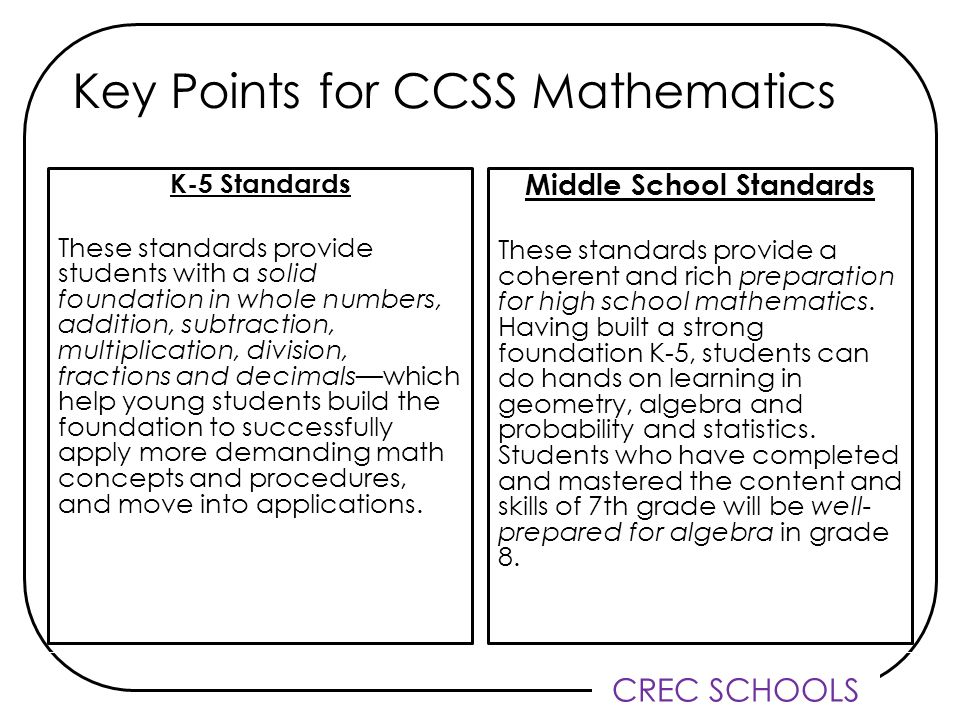 CREC SCHOOLS Key Points for CCSS Mathematics K-5 Standards These standards provide students with a solid foundation in whole numbers, addition, subtraction, multiplication, division, fractions and decimalswhich help young students build the foundation to successfully apply more demanding math concepts and procedures, and move into applications.