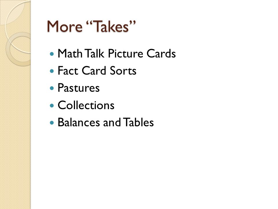 More Takes Math Talk Picture Cards Fact Card Sorts Pastures Collections Balances and Tables