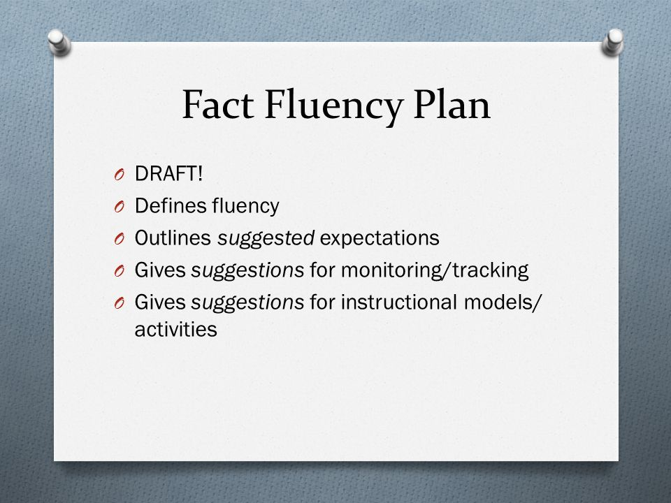 Fact Fluency Plan O DRAFT.