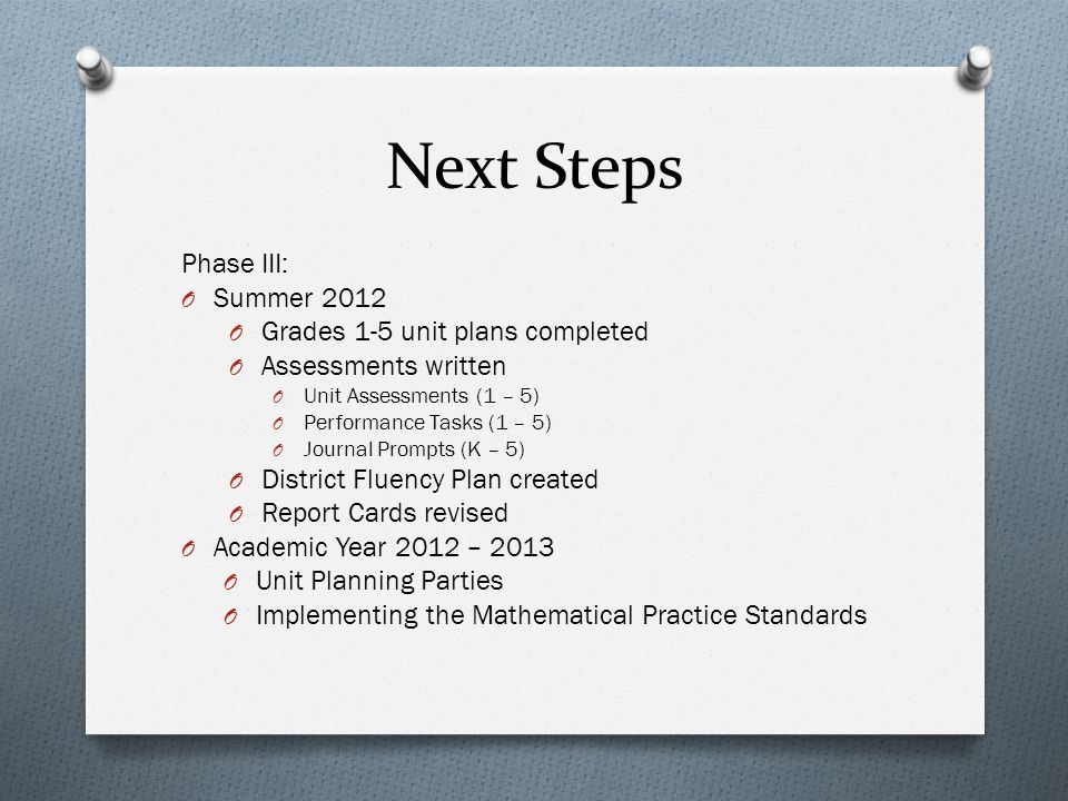 Next Steps Phase III: O Summer 2012 O Grades 1-5 unit plans completed O Assessments written O Unit Assessments (1 – 5) O Performance Tasks (1 – 5) O J