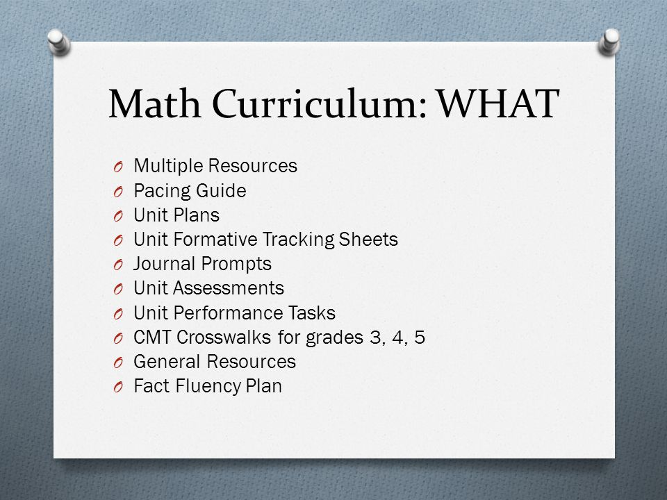 Math Curriculum: WHAT O Multiple Resources O Pacing Guide O Unit Plans O Unit Formative Tracking Sheets O Journal Prompts O Unit Assessments O Unit Performance Tasks O CMT Crosswalks for grades 3, 4, 5 O General Resources O Fact Fluency Plan