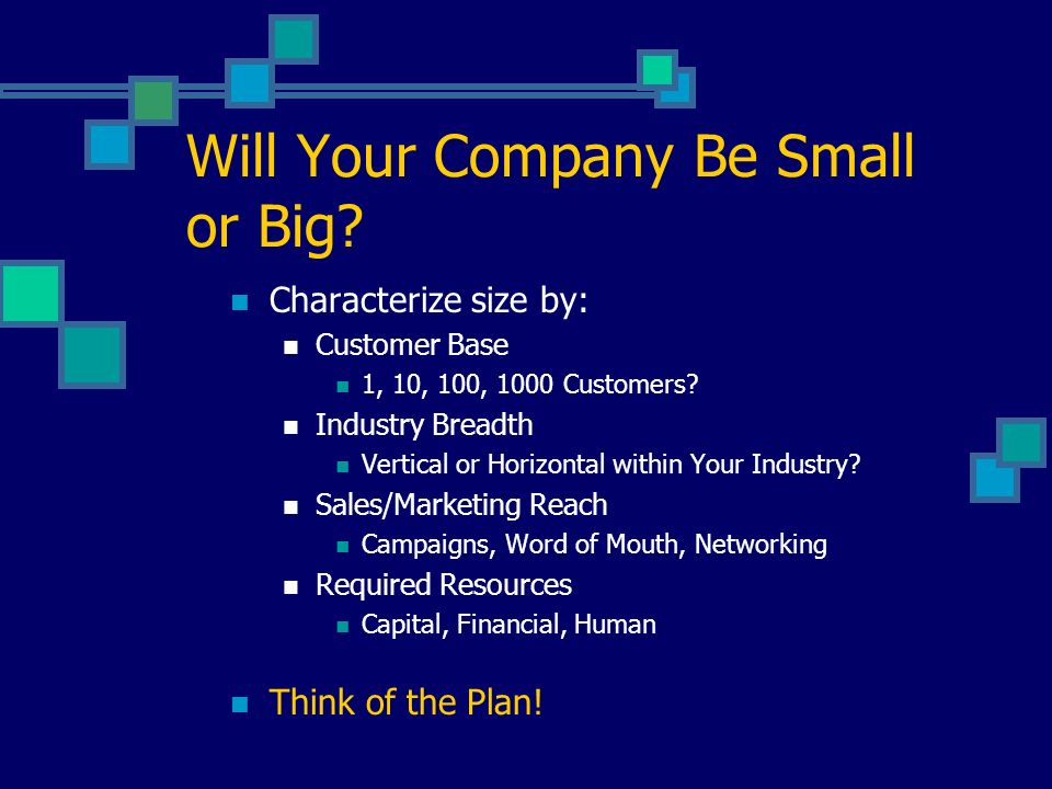 Will Your Company Be Small or Big. Characterize size by: Customer Base 1, 10, 100, 1000 Customers.